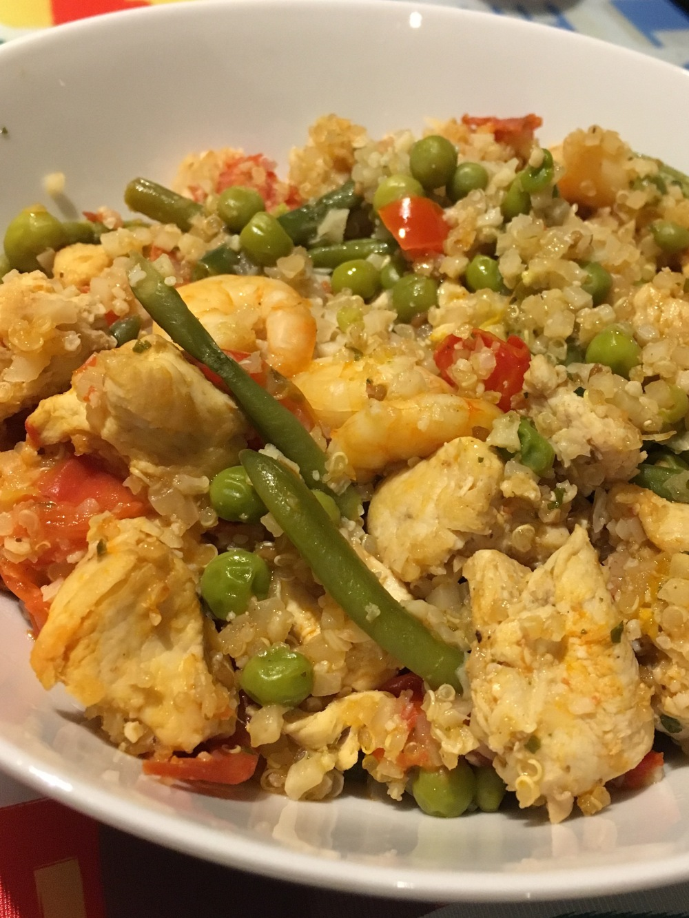 cauliflower rice and quinoa paella